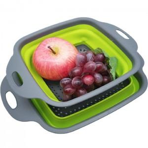 Square silicone fruit washing and draining basket