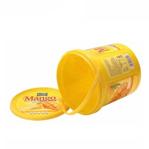 Hot sale 2.5L 70oz plastic cookie food in mold labeling IML container with lid cover